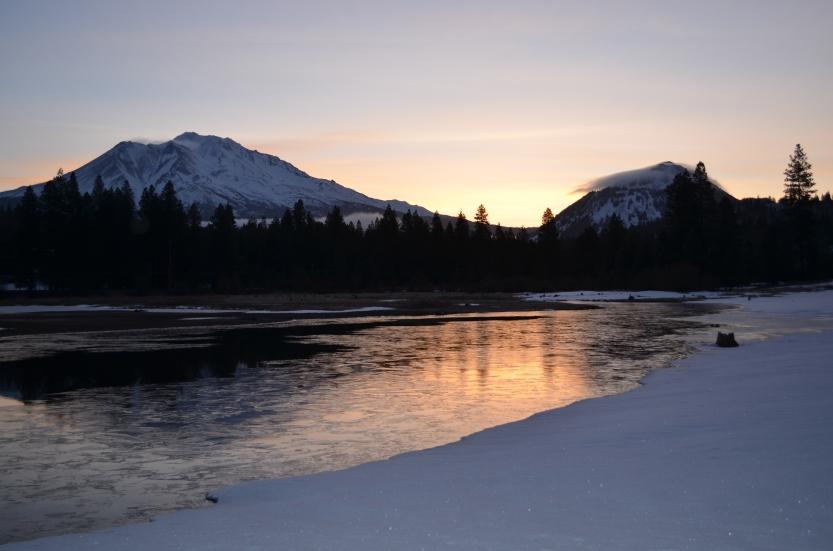 Mt. Shasta and Black Butte at sunrise (Mt. Shasta, California, USA)