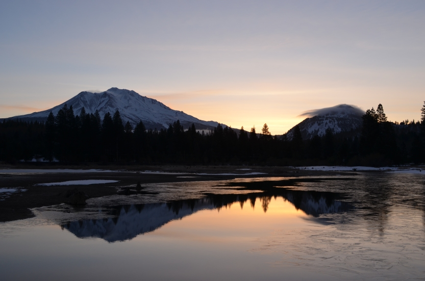 Mount Shasta and Black Butte (Weed, California, USA)