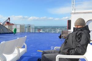Braving the wind on the Interislander ferry
