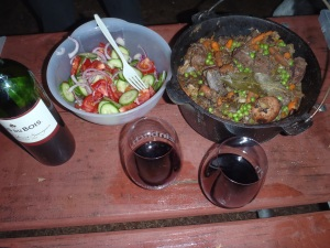 Cucumber salad and beef stew