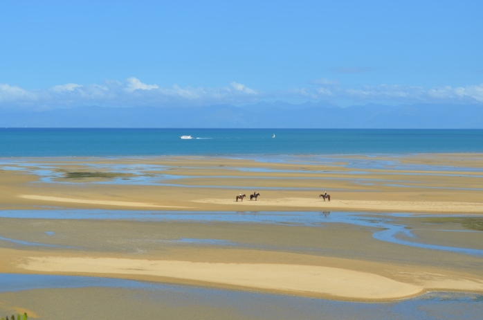 Horseback riders on Sandy Bay