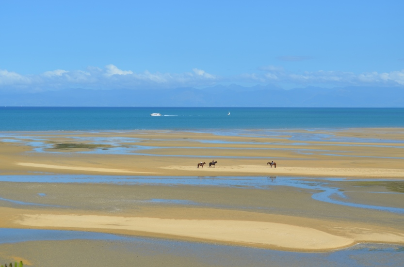 Horseback riders on Sandy Bay