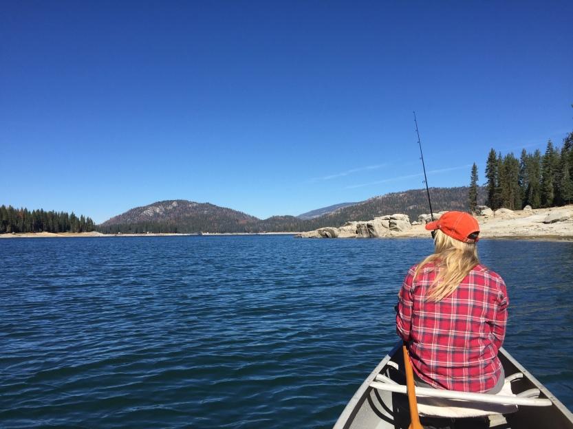 Fishing from the canoe