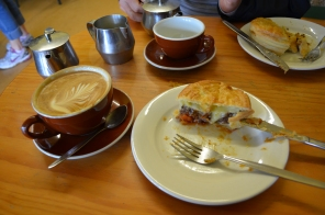 Flat white and meat pie