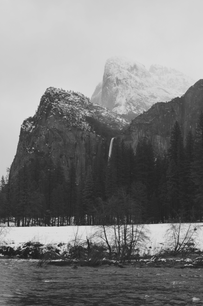 Bridalveil Falls and Cathedral Rocks